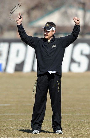 "CU coach Eric Kiesau during the first day of spring drills.<br /> For more football photos, go to photo galleries at  <a href=""http://www.dailycamera.com"">http://www.dailycamera.com</a>.<br /> Cliff Grassmick / March 6, 2010"
