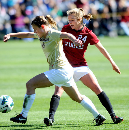 "Hayley Hughes (6) of CU, gets past Alex Doll of  Stanford.<br /> For more photos of the game, go to  <a href=""http://www.dailycamera.com"">http://www.dailycamera.com</a>.<br /> Cliff Grassmick  / October 7, 2012"