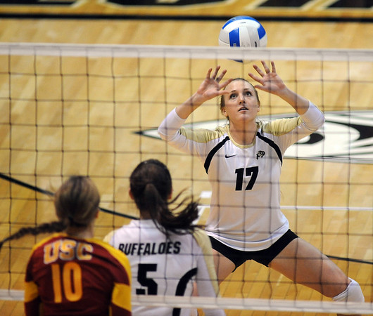 "CU senior, Michelle Miller, sets against  USC on CU Senior Night.<br /> For more photos of the game, go to  <a href=""http://www.dailycamera.com"">http://www.dailycamera.com</a>.<br /> Cliff Grassmick / November 10, 2012"