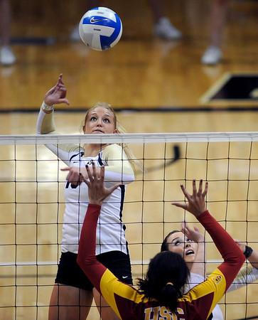 """Nikki Lindow of CU prepares for a kill against USC on Saturday  night.<br /> For more photos of the game, go to  <a href=""""http://www.dailycamera.com"""">http://www.dailycamera.com</a>.<br /> Cliff Grassmick / November 10, 2012"""
