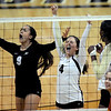 "Chelsey Keoho, left Elysse Richardson, and Alexis Austin, celebrate a point against USC.<br /> For more photos of the game, go to  <a href=""http://www.dailycamera.com"">http://www.dailycamera.com</a>.<br /> Cliff Grassmick / November 10, 2012"