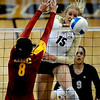 "Nikki Lindow of CU hits  against Alicia Ogoms of USC on Saturday  night.<br /> For more photos of the game, go to  <a href=""http://www.dailycamera.com"">http://www.dailycamera.com</a>.<br /> Cliff Grassmick / November 10, 2012"