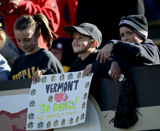"Ryan Giordano, 9, shows that Vermont supports the Buffs.<br /> For more photos of the CU game, go to  <a href=""http://www.dailycamera.com"">http://www.dailycamera.com</a><br /> Cliff Grassmick / November 23, 2012"
