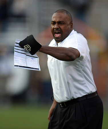 """CU head coach, Jon Embree is upset with a no call of a block in the back that enabled Utah to score a touchdown.<br /> For more photos of the CU game, go to  <a href=""""http://www.dailycamera.com"""">http://www.dailycamera.com</a><br /> Cliff Grassmick / November 23, 2012"""