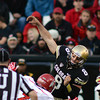 "CU QB Nick Hirschman is hit by V.J. Fehoko of Utah as he throws.<br /> For more photos of the CU game, go to  <a href=""http://www.dailycamera.com"">http://www.dailycamera.com</a><br /> Cliff Grassmick / November 23, 2012"