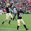 "Nick Hirschman and Tony Jones, celebrate a CU TD by Jones in the Utah game.<br /> For more photos of the CU game, go to  <a href=""http://www.dailycamera.com"">http://www.dailycamera.com</a><br /> Cliff Grassmick / November 23, 2012"
