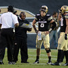 "Eric Bieniemy and other coaches talk to CU QB Nick Hirschman late in the Utah game.<br /> For more photos of the CU game, go to  <a href=""http://www.dailycamera.com"">http://www.dailycamera.com</a><br /> Cliff Grassmick / November 23, 2012"
