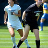 CU's #16 Amanda Foulk, left reacts as #00 goalie Kelly Stambaugh can only watch the ball go in the net on a first half goal during the University of Colorado vs Air Force soccer game at Prentup Field in Boulder on Sunday August 15. <br /> Photo by Paul Aiken / The Camera