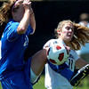 CU's #11 Erin Brick, right, reacts as #20 Cassie Wilson clears the ball from the front of the net during the University of Colorado vs Air Force soccer game at Prentup Field in Boulder on Sunday August 15. <br /> Photo by Paul Aiken / The Camera