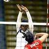 Alexis Austin (3) of the University of Colorado volleyball team goes up for a block against Breanna Wong (8) during their game against the Cornell Big Red at the Coors Event Center on Friday August 31, 2012. For more photos of the game go to www. buff zone.com.<br /> Photo by Paul Aiken / The Daily Camera