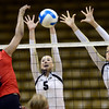 Nicole Edelman (5) and Nikki Lindow (15) of the University of Colorado volleyball team go up for a block against  Janel Forte (3)during their game against the Cornell Big Red at the Coors Event Center on Friday August 31, 2012. For more photos of the game go to www. buff zone.com.<br /> Photo by Paul Aiken / The Daily Camera