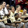 The Colorado bench celebrates a point during the second half of an NCAA college basketball game against Iowa State in the first round of the Big 12 Men's Basketball tournament Wednesday, March 9, 2011 in Kansas City, Mo. Colorado won the game 77-75. (AP Photo/Charlie Riedel)