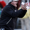 Colorado head coach Brian Cabral shouts instructions in the first half of an NCAA college football game against Nebraska, in Lincoln, Neb., Friday, Nov. 26, 2010. (AP Photo/Nati Harnik)