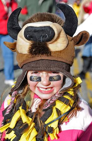 COLORADO VS. NEBRASKA, LINCOLN, NEB -11/26/2010 - Colorado fan Mackenzie Jones, 6, Broomfiled, Col., wears a buffalo hat outside Memorial Stadium, Friday, November 26, 2010.  (GWYNETH ROBERTS/Lincoln Journal Star)
