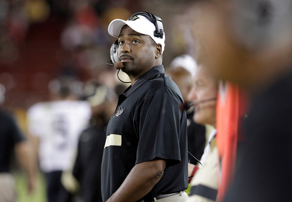 Colorado head coach Jon Embree watches the game against Stanford in the fourth quarter of an NCAA college football game in Stanford, Calif., Saturday, Oct. 8, 2011. Stanford defeated Colorado 48-7. (AP Photo/Paul Sakuma)