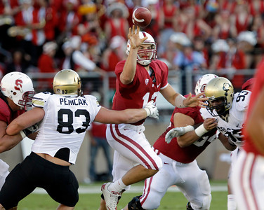 Stanford quarterback Andrew Luck (12) passes against Colorado in the second quarter of an NCAA college football game in Stanford, Calif., Saturday, Oct. 8, 2011. (AP Photo/Paul Sakuma)
