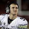 Colorado quarterback Tyler Hansen watches a replay after he was pulled from the game against Stanford in the fourth quarter of an NCAA college football game in Stanford, Calif., Saturday, Oct. 8, 2011. Stanford defeated Colorado 48-7.  (AP Photo/Paul Sakuma)