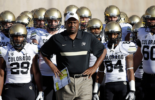 Colorado head coach Dan Embree waits to enter the stadium with his team against Stanford before an NCAA college football game in Stanford, Calif., Saturday, Oct. 8, 2011. (AP Photo/Paul Sakuma)