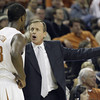 Texas coach Rick Barnes, right, questions the actions of forward Hamilton Jordan, left, during the second half of their 103-86 win over Colorado in an NCAA college basketball game Saturday, Jan. 9, 2010, in Austin, Texas. (AP Photo/Harry Cabluck)