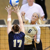 "Kerra Schroeder of CU hits over Kelley Arnold of UNC.<br /> For more photos of the game, go to  <a href=""http://www.dailycamera.com"">http://www.dailycamera.com</a>.<br />  Cliff Grassmick / August 28, 2011"