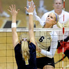 "Kerra Schroeder of CU hits over Marissa Hughes of UNC.<br /> For more photos of the game, go to  <a href=""http://www.dailycamera.com"">http://www.dailycamera.com</a>.<br />  Cliff Grassmick / August 28, 2011"