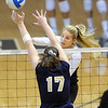 "Nikki Lindow of CU hits over Kelley Arnold  of UNC.<br /> For more photos of the game, go to  <a href=""http://www.dailycamera.com"">http://www.dailycamera.com</a>.<br />  Cliff Grassmick / August 28, 2011"