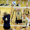 "Alyssa Wilson of UNC is blocked by Alyssa Valentine of CU.<br /> For more photos of the game, go to  <a href=""http://www.dailycamera.com"">http://www.dailycamera.com</a>.<br />  Cliff Grassmick / August 28, 2011"