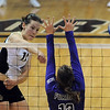 """Rosie Steinhaus of Colorado hits past Katherine Hall of Furman.<br /> For more photos, go to  <a href=""""http://www.dailycamera.com"""">http://www.dailycamera.com</a>.<br /> Cliff Grassmick / August 27, 2010"""