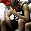Colorado's Brittany Spears sits on the bench during the final minutes in the second half of an NCAA college basketball game against Kansas at the Big 12 Women's tournament on Tuesday, March 8, 2011, in Kansas City, Mo. Kansas won 71-45. (AP Photo/Jeff Roberson)