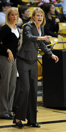 Linda Lappe works her first game as the head coach at Colorado against Western State.<br /> Cliff Grassmick / November 5, 2010
