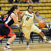 Brittany Wilson of Colorado drives around Megan Groen of WSU.<br /> Cliff Grassmick / November 5, 2010