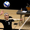 "University of Colorado's Kelsey English spikes the ball on Saturday, Aug. 20, during volleyball practice at the Coors Event Center on the CU campus in Boulder. For more photos of practice go to  <a href=""http://www.dailycamera.com"">http://www.dailycamera.com</a><br /> Jeremy Papasso/ Camera"