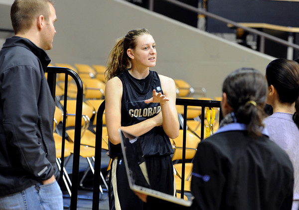 "New freshman, Lexy Kresl, talks to the media on CU media day on Wednesday.<br /> For videos and photos of media day, go to  <a href=""http://www.dailycamera.com"">http://www.dailycamera.com</a><br /> Cliff Grassmick / October 26, 2011"