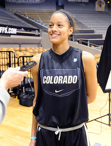 Arielle Roberson talks to the media on CU media day on Wednesday. For videos and photos of media day, go to www.dailycamera.com Cliff Grassmick / October 26, 2011