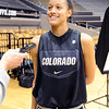 "Arielle Roberson talks to the media on CU media day on Wednesday.<br /> For videos and photos of media day, go to  <a href=""http://www.dailycamera.com"">http://www.dailycamera.com</a><br /> Cliff Grassmick / October 26, 2011"