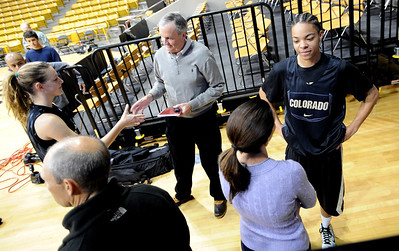 New freshman, Lexy Kresl, left, and Chucky Jeffery, talk to the media on CU media day on Wednesday. For videos and photos of media day, go to www.dailycamera.com Cliff Grassmick / October 26, 2011