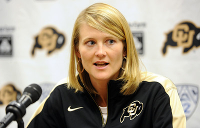 University of Colorado head basketball coach, Linda Lappe, talks to the press on CU Basketball Media Day on Wednesday. For videos and photos of media day, go to www.dailycamera.com Cliff Grassmick / October 26, 2011
