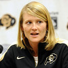 "University of Colorado head basketball coach, Linda Lappe, talks to the press on CU Basketball Media Day on Wednesday.<br /> For videos and photos of media day, go to  <a href=""http://www.dailycamera.com"">http://www.dailycamera.com</a><br /> Cliff Grassmick / October 26, 2011"