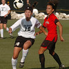 Kassidy Fitzpatrick, left, of CU, gets past Taylor Lytle of Texas Tech.<br /> Cliff Grassmick / October 30, 2009