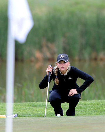 "Emily Talley of CU studies the green at hole 16 during the 3rd round of the West Regional.<br /> For more photos of the 3rd round, go to  <a href=""http://www.dailycamera.com"">http://www.dailycamera.com</a>.<br /> Cliff Grassmick / May 12, 2012"