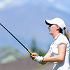 "Kristen Coleman of CU teeing off at hole 18.<br /> For more photos of the West Regional, go to  <a href=""http://www.dailycamera.com"">http://www.dailycamera.com</a><br /> Cliff Grassmick / May 10, 2012"
