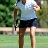 "Emily Talley of CU reacts to a made birdie at hole 17 on Thursday.<br /> For more photos of the West Regional, go to  <a href=""http://www.dailycamera.com"">http://www.dailycamera.com</a><br /> Cliff Grassmick / May 10, 2012"