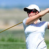 "Alex Stewart of CU watches her drive at  hole 18 on Thursday.<br /> For more photos of the West Regional, go to  <a href=""http://www.dailycamera.com"">http://www.dailycamera.com</a><br /> Cliff Grassmick / May 10, 2012"