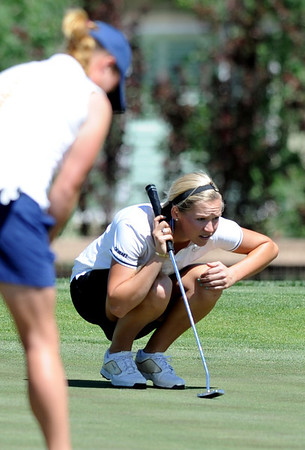"Emily Talley of CU lines up a putt  at hole 17.<br /> For more photos of the West Regional, go to  <a href=""http://www.dailycamera.com"">http://www.dailycamera.com</a><br /> Cliff Grassmick / May 10, 2012"