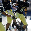 "Demetrius Sumler, left, and Rodney Stewart celebrate a Buff touchdown against the Aggies on Saturday.<br /> <br /> For more photos from the game, go to  <a href=""http://www.dailycamera.com"">http://www.dailycamera.com</a>.<br /> Cliff Grassmick / November 7, 2009"