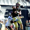"CU QB Tyler Hansen of CU  goes to the air against Texas A & M in the Colorado 35-34 win.<br /> For more photos from the game, go to  <a href=""http://www.dailycamera.com"">http://www.dailycamera.com</a>.<br /> Cliff Grassmick / November 7, 2009"