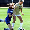 """Anne Stuller (23) of CU, keeps the ball away from Loren Catchpole of Air Force.<br /> For more photos of the game, go to  <a href=""""http://www.dailycamera.com"""">http://www.dailycamera.com</a>.<br /> Cliff Grassmick  / September 16, 2012"""