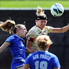 "Ally Swift, left, of Air Force and Amy Barczuk of CU, go up on a header.<br /> For more photos of the game, go to  <a href=""http://www.dailycamera.com"">http://www.dailycamera.com</a>.<br /> Cliff Grassmick  / September 16, 2012"