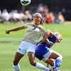 """Olivia Pappalardo (5) of CU, muscle the ball from Leah Bratt of Air Force.<br /> For more photos of the game, go to  <a href=""""http://www.dailycamera.com"""">http://www.dailycamera.com</a>.<br /> Cliff Grassmick  / September 16, 2012"""