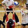 "Ana Pantovic pushes one over the Arizona defender.<br /> For more photos of the game, go to  <a href=""http://www.dailycamera.com"">http://www.dailycamera.com</a>.<br /> Cliff Grassmick / October 14, 2012"